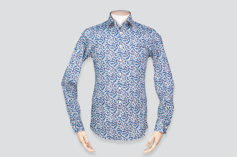Smyth & Gibson Liberty Floral Print Slim Fit Shirt in Blue