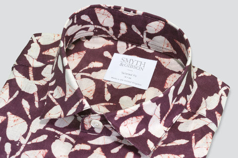 Smyth & Gibson Tropical Leaves Print Tailored Fit Linen Shirt in Burgundy - Smyth & Gibson Shirts