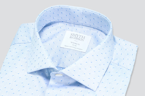 Smyth & Gibson Jacquard Square Print Tailored Fit Shirt in Sky Blue - Smyth & Gibson Shirts