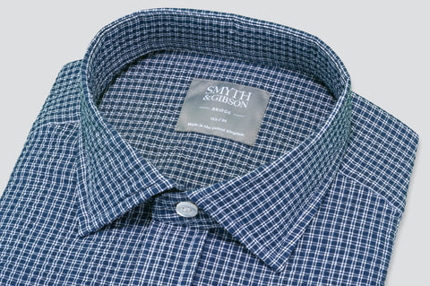 Smyth & Gibson Seersucker Checked Shirt in Navy - Smyth & Gibson Shirts