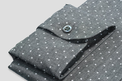 Smyth & Gibson Polka Dot Print Shirt in Grey