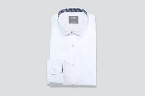 Smyth & Gibson Twill Shirt in White with Multi-Check Contrast Collar