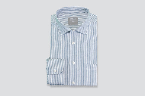 Smyth & Gibson Oxford Bengal Stripe Shirt in Navy