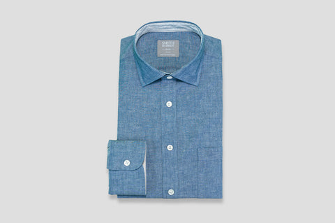 Smyth & Gibson Denim Cotton Shirt in Navy with Stripe Contrast Collar