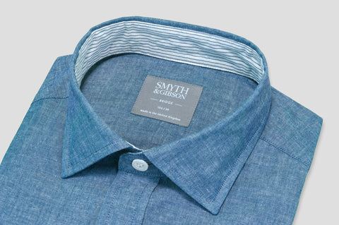 Smyth & Gibson Denim Cotton Shirt in Navy with Stripe Contrast Collar - Smyth & Gibson Shirts