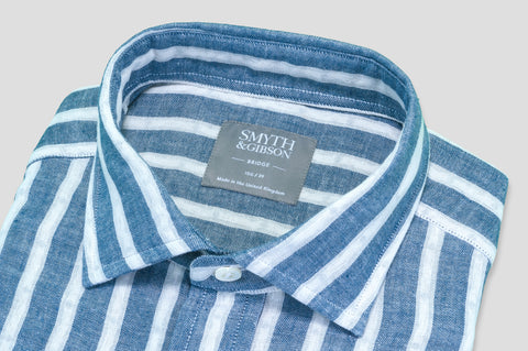 Smyth & Gibson Denim Cotton Striped Shirt in Sky Blue - Smyth & Gibson Shirts