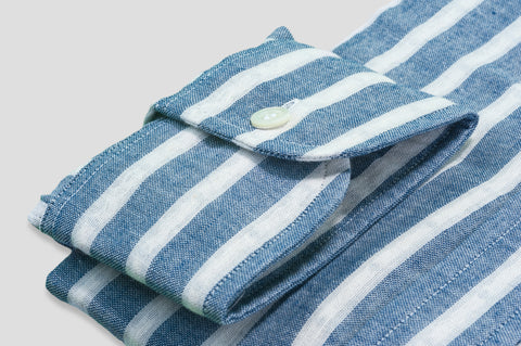 Smyth & Gibson Denim Cotton Striped Shirt in Sky Blue