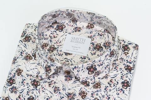 Smyth & Gibson Abstract Flower Print Shirt in Sand - Smyth & Gibson Shirts