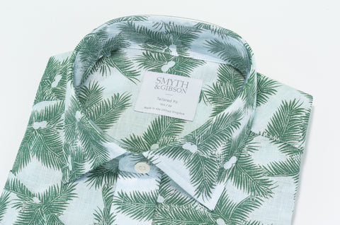 Smyth & Gibson Palm Print Linen Short Sleeve Shirt in Green - Smyth & Gibson Shirts