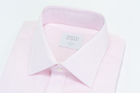 Smyth & Gibson Plain Poplin Double Cuff Shirt in Pink