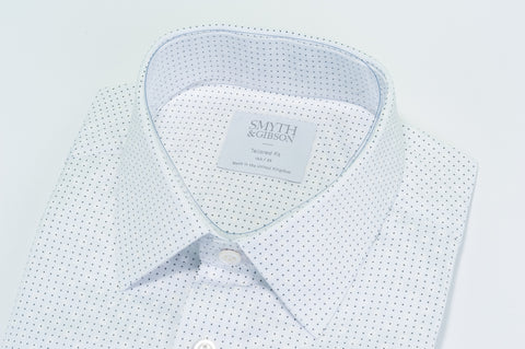 Smyth & Gibson Micro Dot with White Dot Print Shirt in White - Smyth & Gibson Shirts