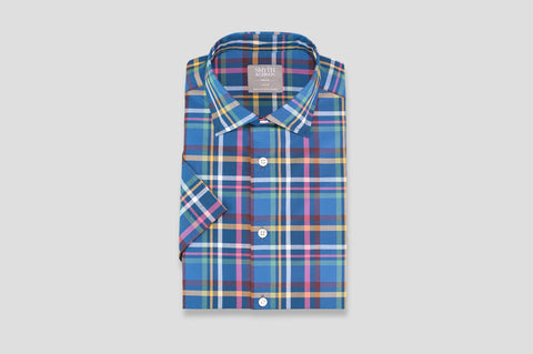 Smyth & Gibson Short Sleeve Madras Check Shirt in Mariner Blue & Green