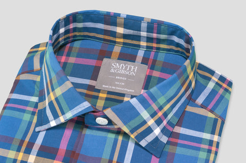 Smyth & Gibson Short Sleeve Madras Check Shirt in Mariner Blue & Green - Smyth & Gibson Shirts