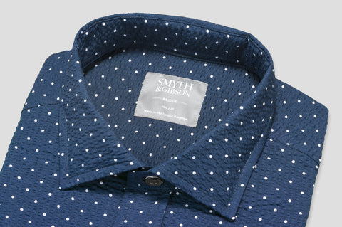 Smyth & Gibson Short Sleeve Polka Dot Seersucker Shirt in Navy - Smyth & Gibson Shirts