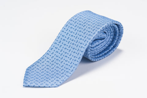 Smyth & Gibson 100% Silk Micro Paisley Tie in Blue - Smyth & Gibson Shirts