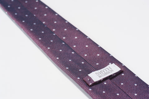 Smyth & Gibson 100% Silk Polka Dot Tie in Burgundy