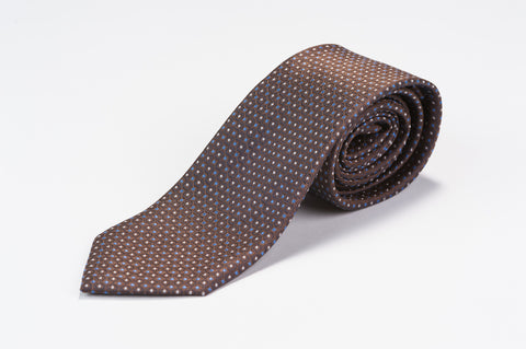 Smyth & Gibson 100% Silk Pin Dot Foulard Tie in Brown - Smyth & Gibson Shirts