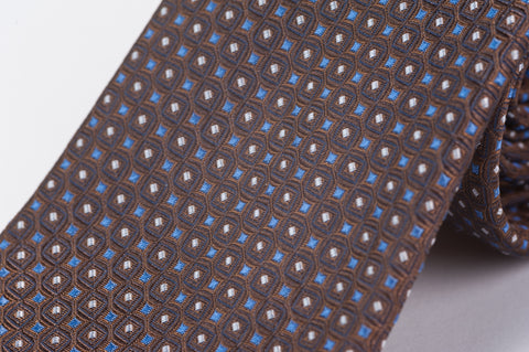 Smyth & Gibson 100% Silk Pin Dot Foulard Tie in Brown