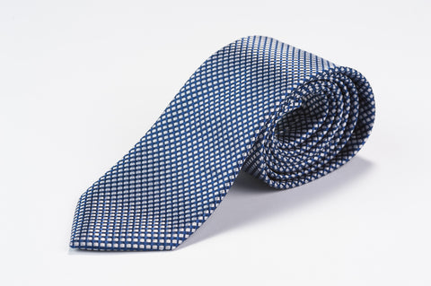 Smyth & Gibson 100% Silk Diamond Check Tie in Navy - Smyth & Gibson Shirts