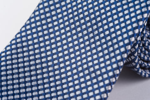 Smyth & Gibson 100% Silk Diamond Check Tie in Navy