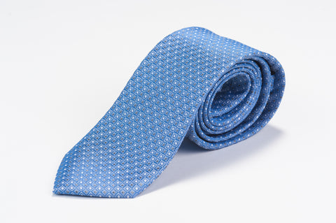 Smyth & Gibson 100% Silk Pin Dot Foulard Tie in Blue - Smyth & Gibson Shirts