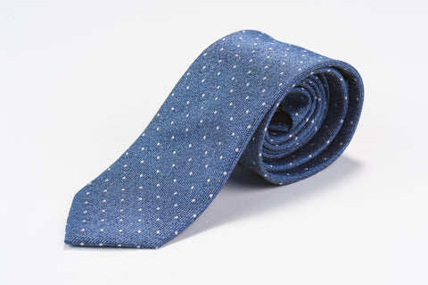 Smyth & Gibson 100% Silk Polka Dot Tie in Mariner Blue - Smyth & Gibson Shirts