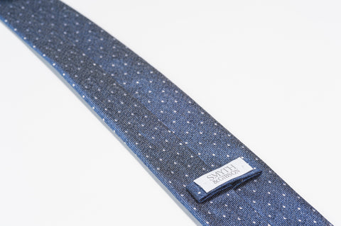 Smyth & Gibson 100% Silk Polka Dot Tie in Mariner Blue