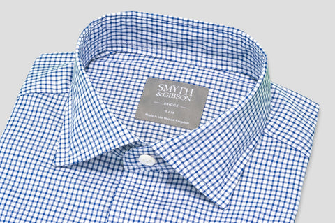 Smyth & Gibson Short Sleeve Gingham Check Shirt in Mariner Blue - Smyth & Gibson Shirts