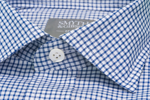 Smyth & Gibson Short Sleeve Gingham Check Shirt in Mariner Blue