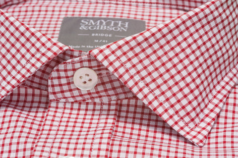 Smyth & Gibson Short Sleeve Gingham Check Shirt in Red