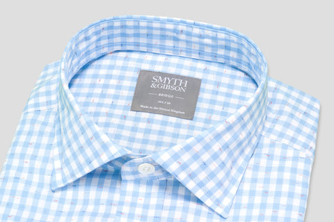 Smyth & Gibson Short Sleeve Gingham Check with Multi-Colour Slub Shirt in Sky Blue