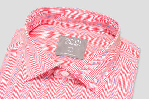 Smyth & Gibson Short Sleeve Gingham & Pin Check Shirt in Red & Violet