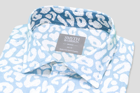 Smyth & Gibson Short Sleeve Abstract Print Shirt in Sky Blue with Contrast Collar - Smyth & Gibson Shirts