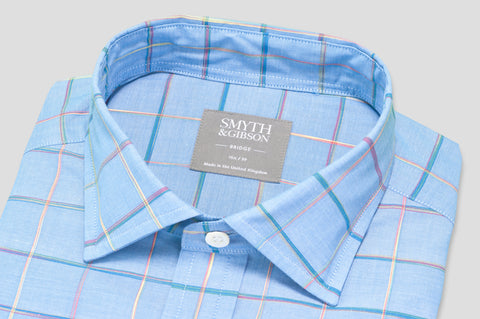 Smyth & Gibson Short Sleeve Window Pane Check Shirt in Sky Blue - Smyth & Gibson Shirts