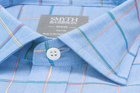Smyth & Gibson Short Sleeve Window Pane Check Shirt in Sky Blue