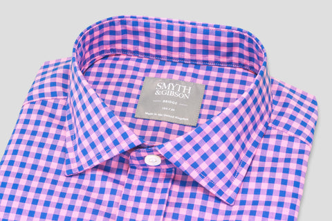 Smyth & Gibson Short Sleeve Gingham Check Shirt in Lavender & Blue - Smyth & Gibson Shirts