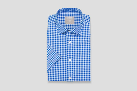 Smyth & Gibson Short Sleeve Gingham Check Shirt in Tropical & Egyptian Blue