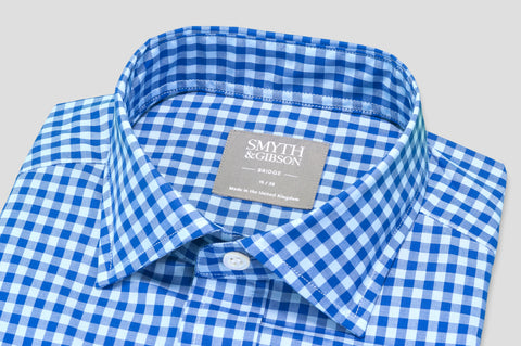 Smyth & Gibson Short Sleeve Gingham Check Shirt in Tropical & Egyptian Blue - Smyth & Gibson Shirts