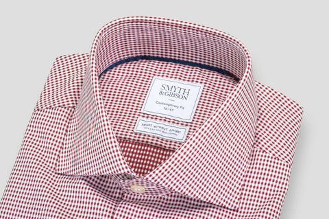 Smyth & Gibson S.W.E. Non Iron Twisted Gingham Contemporary Fit Shirt in Red - Smyth & Gibson Shirts