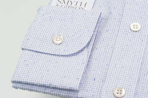 Smyth & Gibson Boucle Grid Check Shirt in Blue