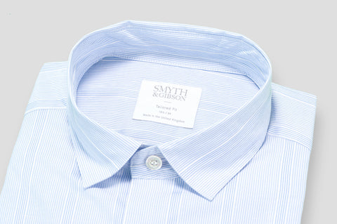 Smyth & Gibson Bengal Stripe with Raised Oxford Stripe Shirt in Sky Blue