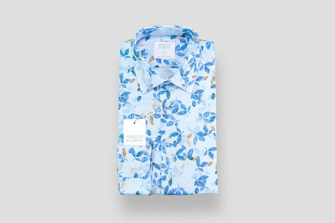 Smyth & Gibson Leaves Print on Fine Shepherds Check Shirt in Blue