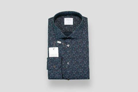 Smyth & Gibson Flower Print Shirt in Dark Indigo