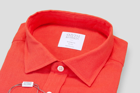 Smyth & Gibson 100% Irish Linen Tailored-Short Fit Shirt in Red - Smyth & Gibson Shirts