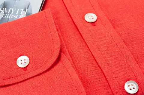 Smyth & Gibson 100% Irish Linen Tailored-Short Fit Shirt in Red