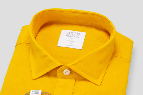 Smyth & Gibson 100% Irish Linen Tailored-Short Fit Shirt in Burnt Yellow - Smyth & Gibson Shirts