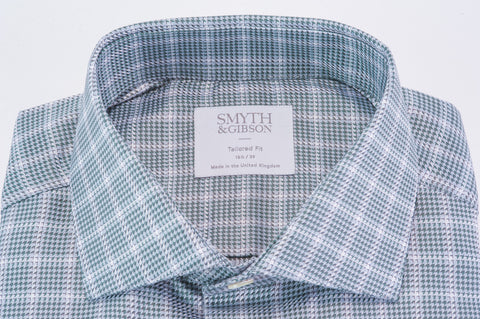 Smyth & Gibson Houndstooth Dobby Tailored Fit Shirt in Dark Green - Smyth & Gibson Shirts