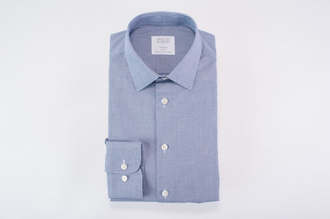 Smyth and Gibson Dobby Box Check Tailored Fit Shirt in Navy
