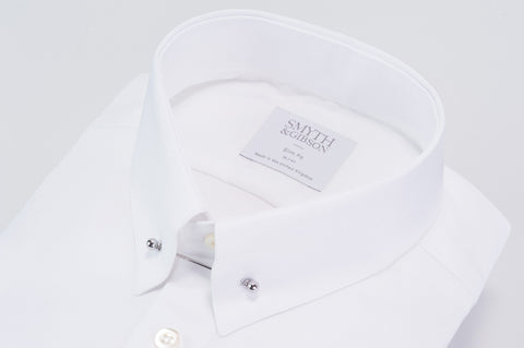 Smyth & Gibson Collar Bar Oxford Slim Fit Shirt in White - Smyth & Gibson Shirts