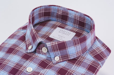 Smyth & Gibson Brushed Multi-Check Shirt in Burgundy & Sky Blue - Smyth & Gibson Shirts